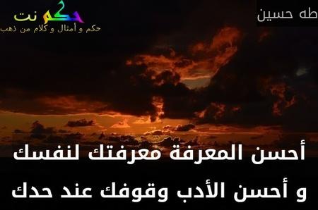 أحسن المعرفة معرفتك لنفسك و أحسن الأدب وقوفك عند حدك-طه حسين