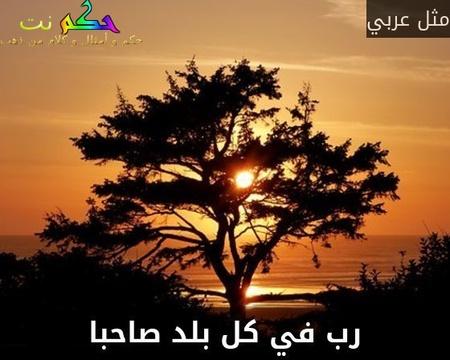 رب في كل بلد صاحبا-مثل عربي