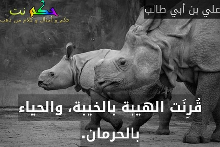قُرِنَت الهيبة بالخيبة، والحياء بالحرمان.-علي بن أبي طالب