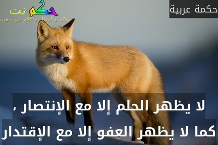 لا يظهر الحلم إلا مع الإنتصار ، كما لا يظهر العفو إلا مع الإقتدار-حكمة عربية