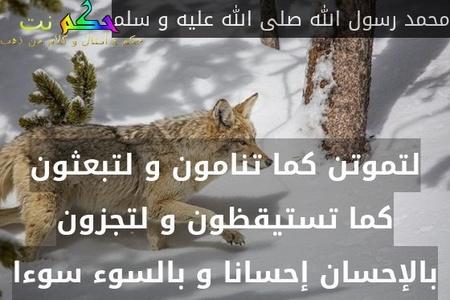 لتموتن كما تنامون و لتبعثون كما تستيقظون و لتجزون بالإحسان إحسانا و بالسوء سوءا-محمد رسول الله صلى الله عليه و سلم