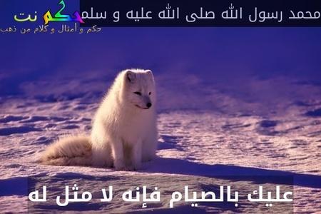 عليك بالصيام فإنه لا مثل له-محمد رسول الله صلى الله عليه و سلم