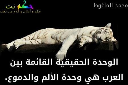 الوحدة الحقيقية القائمة بين العرب هي وحدة الألم والدموع.-محمد الماغوط
