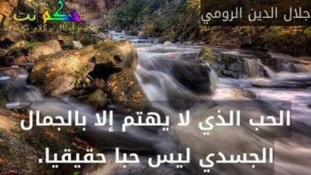 الحب الذي لا يهتم إلا بالجمال الجسدي ليس حبا حقيقيا.-جلال الدين الرومي