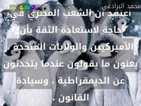 أعتقد أن الشعب المصري في حاجة لاستعادة الثقة بأن الأميركيين والولايات المتحدة ، يعنون ما يقولون عندما يتحدثون عن الديمقراطية ، وسيادة القانون .-محمد البرادعي