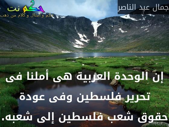 إن الوحدة العربية هى أملنا فى تحرير فلسطين وفى عودة حقوق شعب فلسطين إلى شعبه.-جمال عبد الناصر
