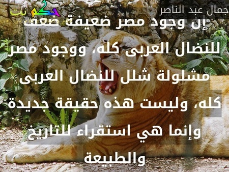 إن وجود مصر ضعيفة ضعف للنضال العربى كله، ووجود مصر مشلولة شلل للنضال العربى كله، وليست هذه حقيقة جديدة وإنما هي استقراء للتاريخ والطبيعة-جمال عبد الناصر