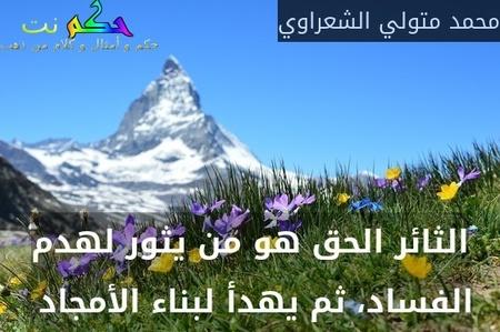 الثائر الحق هو من يثور لهدم الفساد، ثم يهدأ لبناء الأمجاد -محمد متولي الشعراوي