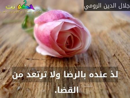 لذ عنده بالرضا ولا ترتعد من القضا. -جلال الدين الرومي