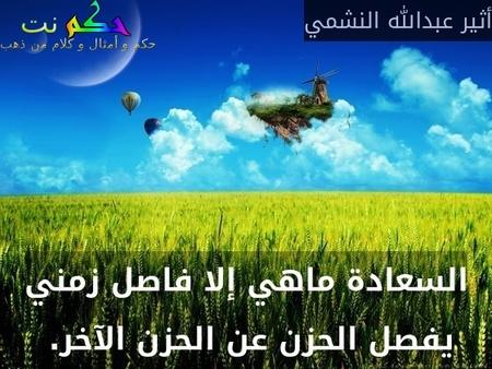 السعادة ماهي إلا فاصل زمني يفصل الحزن عن الحزن الآخر. -أثير عبدالله النشمي