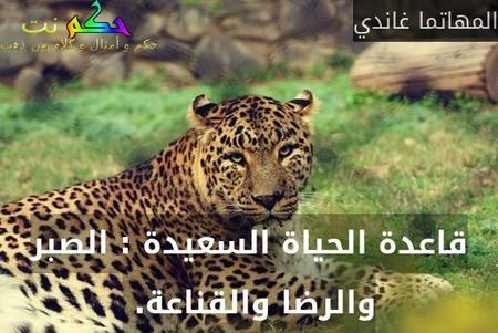 قاعدة الحياة السعيدة : الصبر والرضا والقناعة. -المهاتما غاندي
