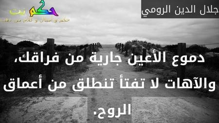 دموع الأعين جارية من فراقك، والآهات لا تفتأ تنطلق من أعماق الروح. -جلال الدين الرومي