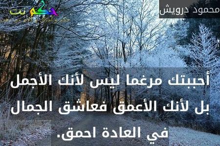 أحببتك مرغما ليس لأنك الأجمل بل لأنك الأعمق فعاشق الجمال في العادة احمق. -محمود درويش