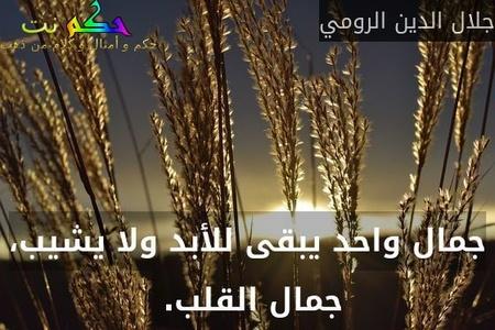 جمال واحد يبقى للأبد ولا يشيب، جمال القلب. -جلال الدين الرومي