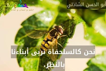 نحن كالسلحفاة نربى أبناءنا بالنظر. -أبو الحسن الشاذلي