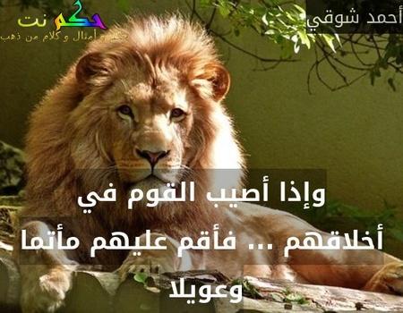 وإذا أصيب القوم في أخلاقهم ... فأقم عليهم مأتما وعويلا -أحمد شوقي