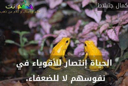 الحياة إنتصار للأقوياء في نفوسهم لا للضعفاء. -كمال جنبلاط