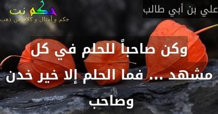 وكن صاحباً للحلم في كل مشهد ... فما الحلم إلا خير خدن وصاحب -علي بن أبي طالب