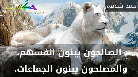 الصالحون يبنون أنفسهم، والمصلحون يبنون الجماعات. -أحمد شوقي