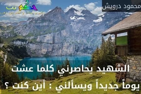 الشهيد يحاصرني كلما عشت يوماً جديداً ويسألني : أين كنت ؟ -محمود درويش