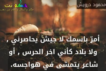 أمرّ باسمك لا جيش يحاصرني , ولا بلاد كأني اخر الحرس , أو شاعر يتمشى في هواجسه. -محمود درويش