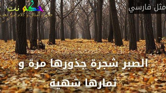 الصبر شجرة جذورها مرة و ثمارها شهية-مثل فارسي
