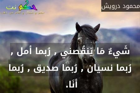 شَيءٌ مَا يَنقُصني , رُبما أمل , رُبما نسيان , رُبما صديق , رُبما أنَا. -محمود درويش