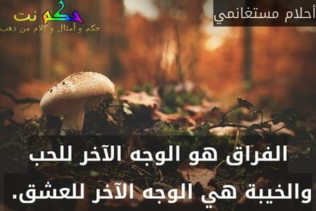 الفراق هو الوجه الآخر للحب والخيبة هي الوجه الآخر للعشق. -أحلام مستغانمي