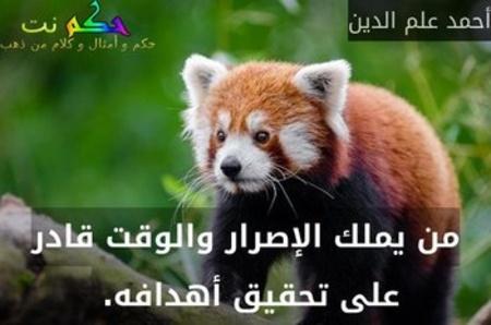 من يملك الإصرار والوقت قادر على تحقيق أهدافه. -أحمد علم الدين