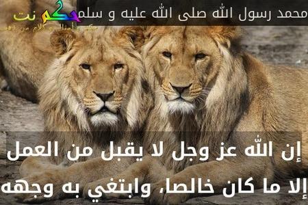 إن الله عز وجل لا يقبل من العمل إلا ما كان خالصا، وابتغي به وجهه-محمد رسول الله صلى الله عليه و سلم