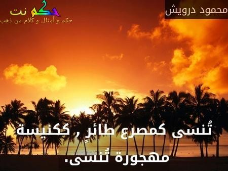 تُنسى كمصرع طائرٍ , ككنيسة مهجورة تُنسى. -محمود درويش