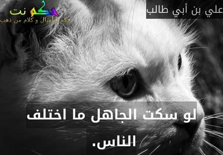 لو سكت الجاهل ما اختلف الناس. -علي بن أبي طالب