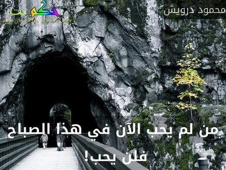 من لم يحب الآن في هذا الصباح فلن يحب! -محمود درويش