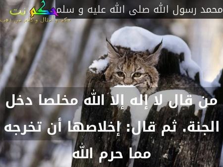 من قال لا إله إلا الله مخلصا دخل الجنة. ثم قال: إخلاصها أن تخرجه مما حرم الله-محمد رسول الله صلى الله عليه و سلم