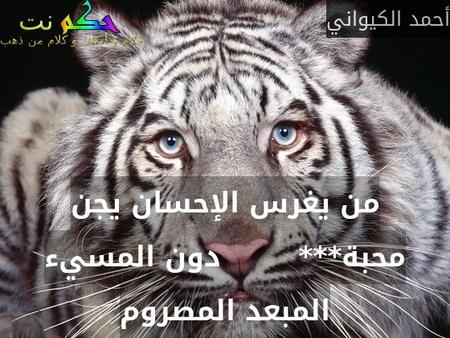 من يغرس الإحسان يجن محبة***        دون المسيء المبعد المصروم-أحمد الكيواني