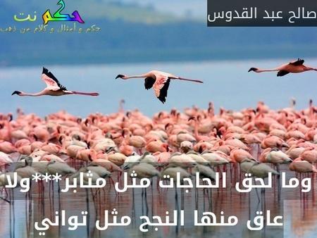 وما لحق الحاجات مثل مثابر***ولا عاق منها النجح مثل تواني-صالح عبد القدوس