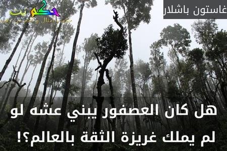 هل كان العصفور يبني عشه لو لم يملك غريزة الثقة بالعالم؟! -غاستون باشلار