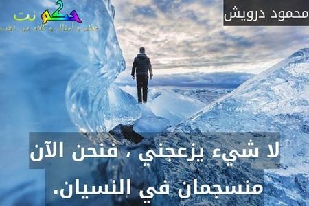 لا شيء يزعجني ، فنحن الآن منسجمان في النسيان. -محمود درويش