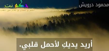 أريد يديكِ لأحمل قلبي. -محمود درويش