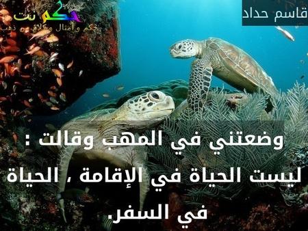 وضعتني في المهب وقالت : ليست الحياة في الإقامة ، الحياة في السفر. -قاسم حداد