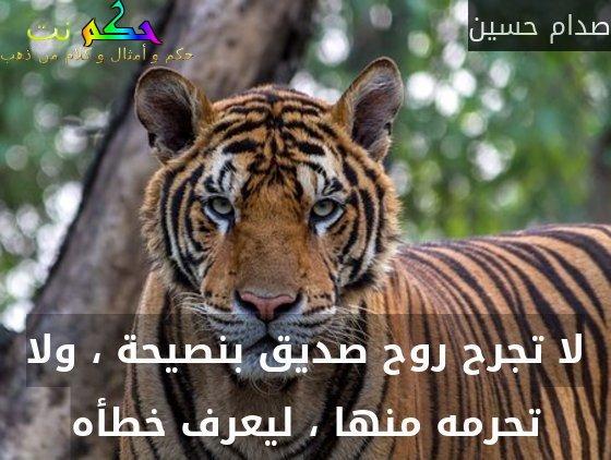 لا تجرح روح صديق بنصيحة ، ولا تحرمه منها ، ليعرف خطأه-صدام حسين