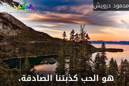 هو الحب كذبتنا الصادقة. -محمود درويش