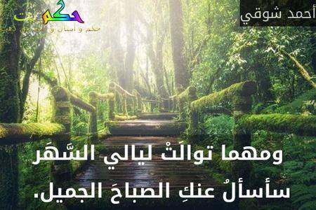 ومهما توالَتْ ليالي السَّهَر سأسألُ عنكِ الصباحَ الجميل. -أحمد شوقي