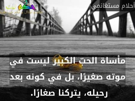 مأساة الحبّ الكبير ليست في موته صغيرًا، بل في كونه بعد رحيله، يتركنا صغارًا. -أحلام مستغانمي