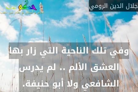 وفي تلك الناحية التي زار بها العشق الألم .. لم يدرس الشافعي ولا أبو حنيفة. -جلال الدين الرومي