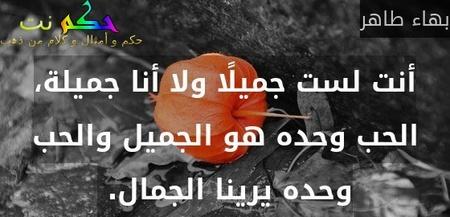 أنت لست جميلًا ولا أنا جميلة، الحب وحده هو الجميل والحب وحده يرينا الجمال. -بهاء طاهر
