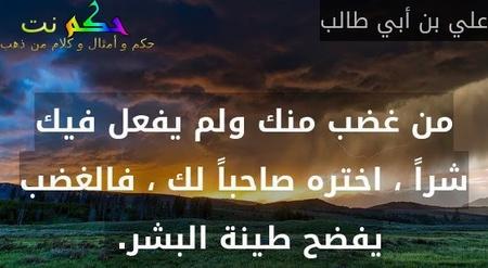 من غضب منك ولم يفعل فيك شراً ، اختره صاحباً لك ، فالغضب يفضح طينة البشر. -علي بن أبي طالب