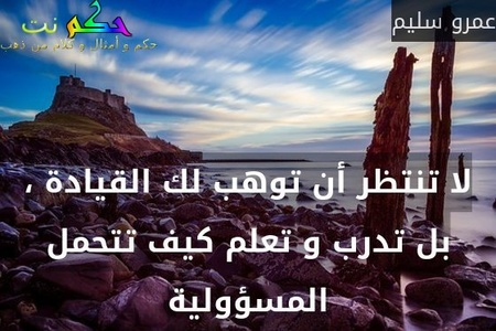 لا تنتظر أن توهب لك القيادة ، بل تدرب و تعلم كيف تتحمل المسؤولية-عمرو سليم