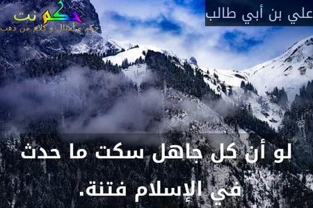 لو أن كل جاهل سكت ما حدث في الإسلام فتنة. -علي بن أبي طالب