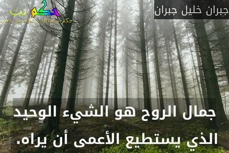 جمال الروح هو الشيء الوحيد الذي يستطيع الأعمى أن يراه. -جبران خليل جبران